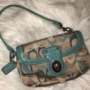 Coach Leather & signature fabric Wallet Wristlet